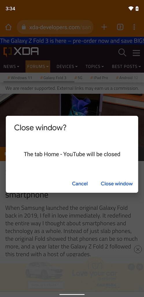 Close window in Google Chrome in Android 12