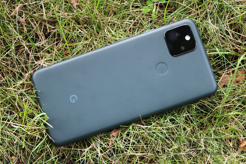Google Pixel 5a with grassy background