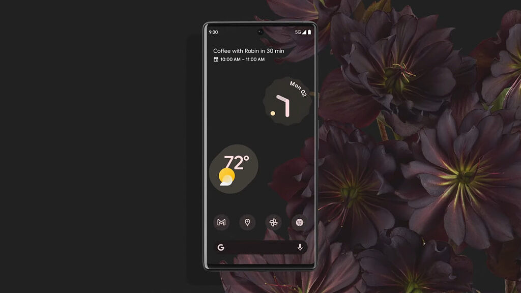 Google Pixel 6 Pro with Material You theming on Android 12