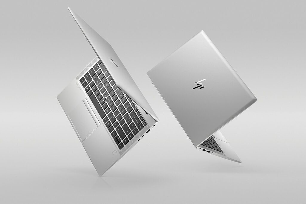 Two HP EliteBook 840 Aero G8 laptops with the lid partly open seen from the front and back