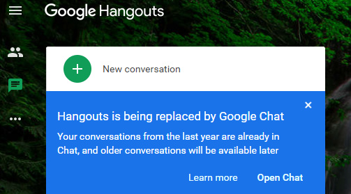 Hangouts web showing Switch to Google Chat prompt