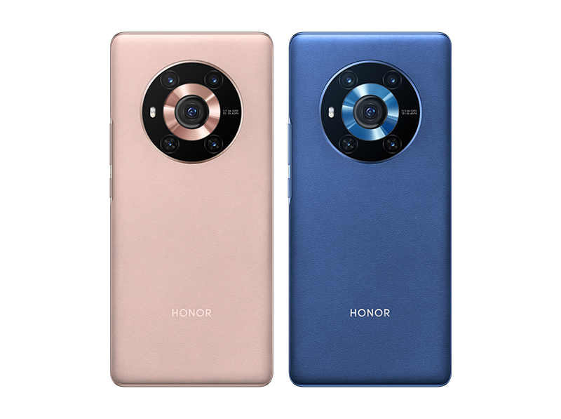 Honor Magic 3 in blue and pink vegan leather colorways