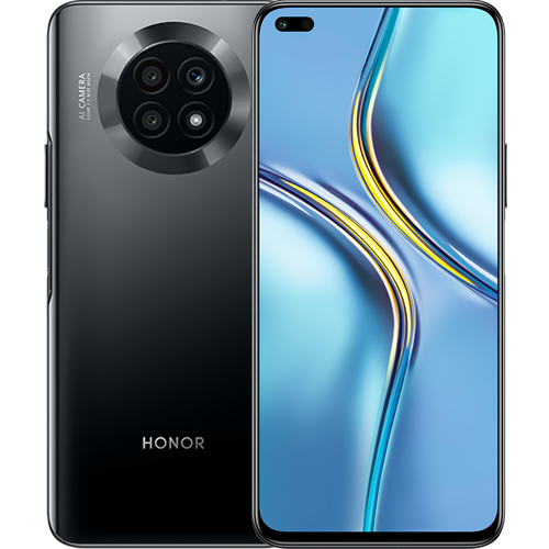 Honor X20 in black color showing front and back