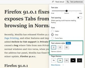 Text column style option in Microsoft Edge browser