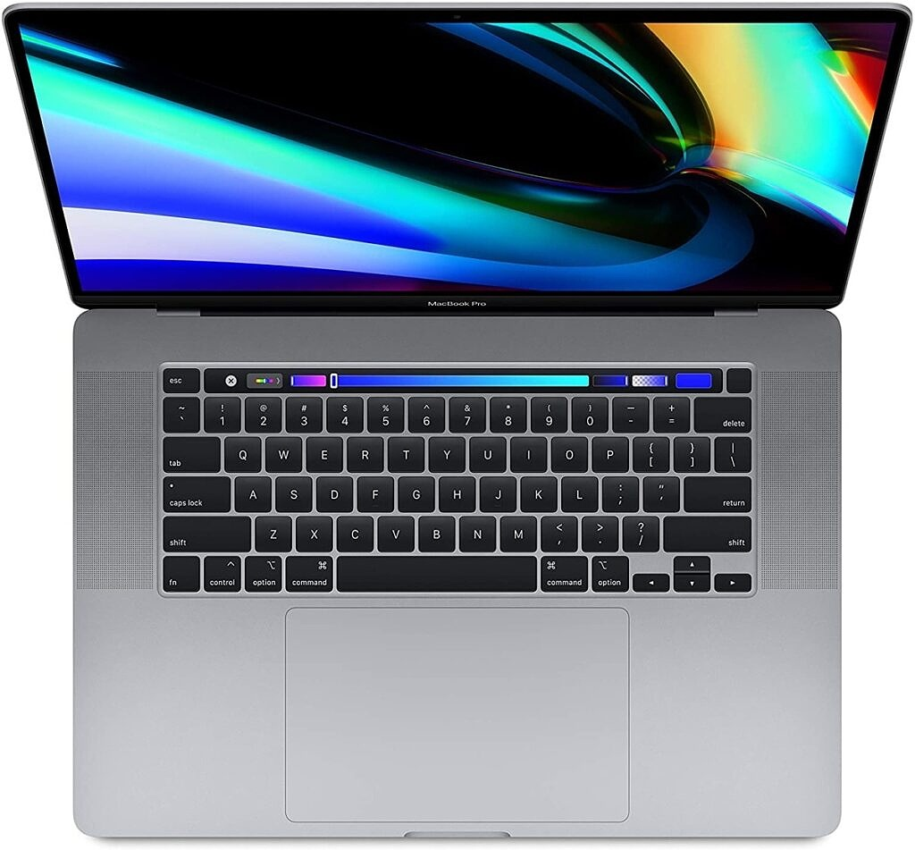 MacBook Pro 16 open and seen from above