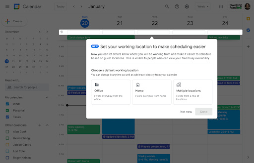 Onboarding dialog for working location feature in Google Calendar