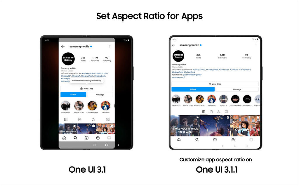 One UI 3.1.1 set aspect ratio for apps