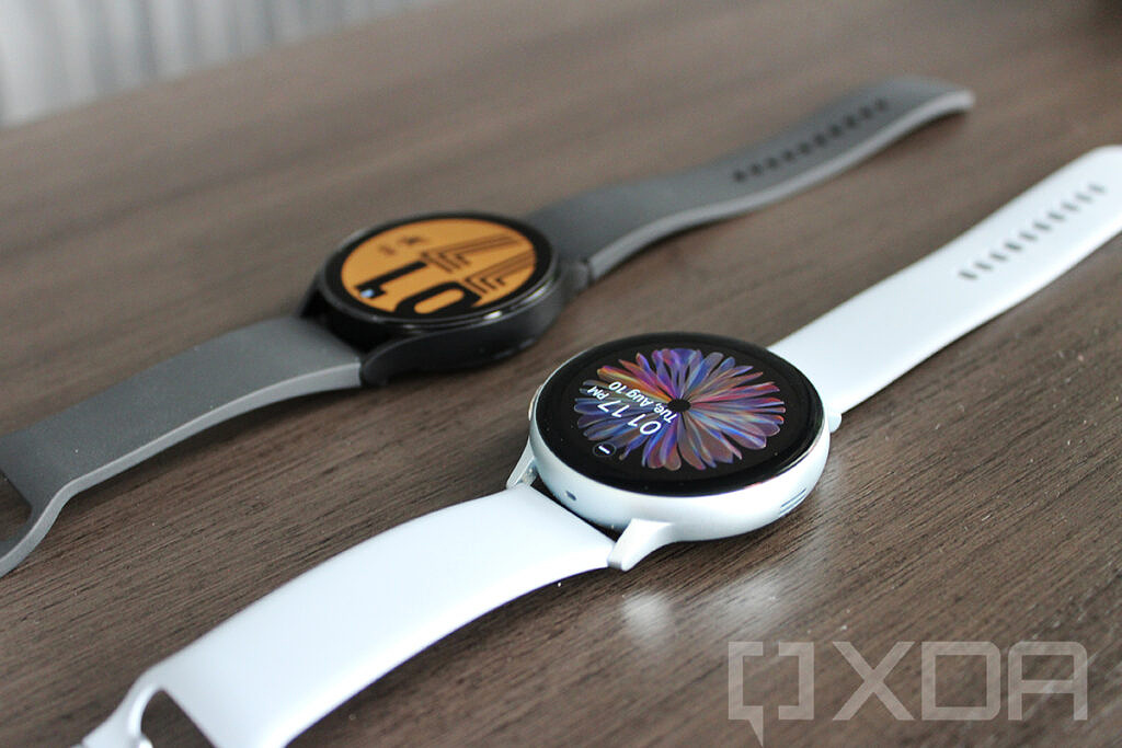 Angled view of Samsung Galaxy Watch 4 and Galaxy Watch Active 2