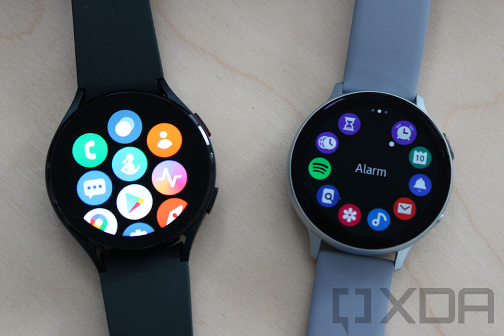 Samsung Galaxy Watch 4 and Galaxy Watch Active 2 app drawers