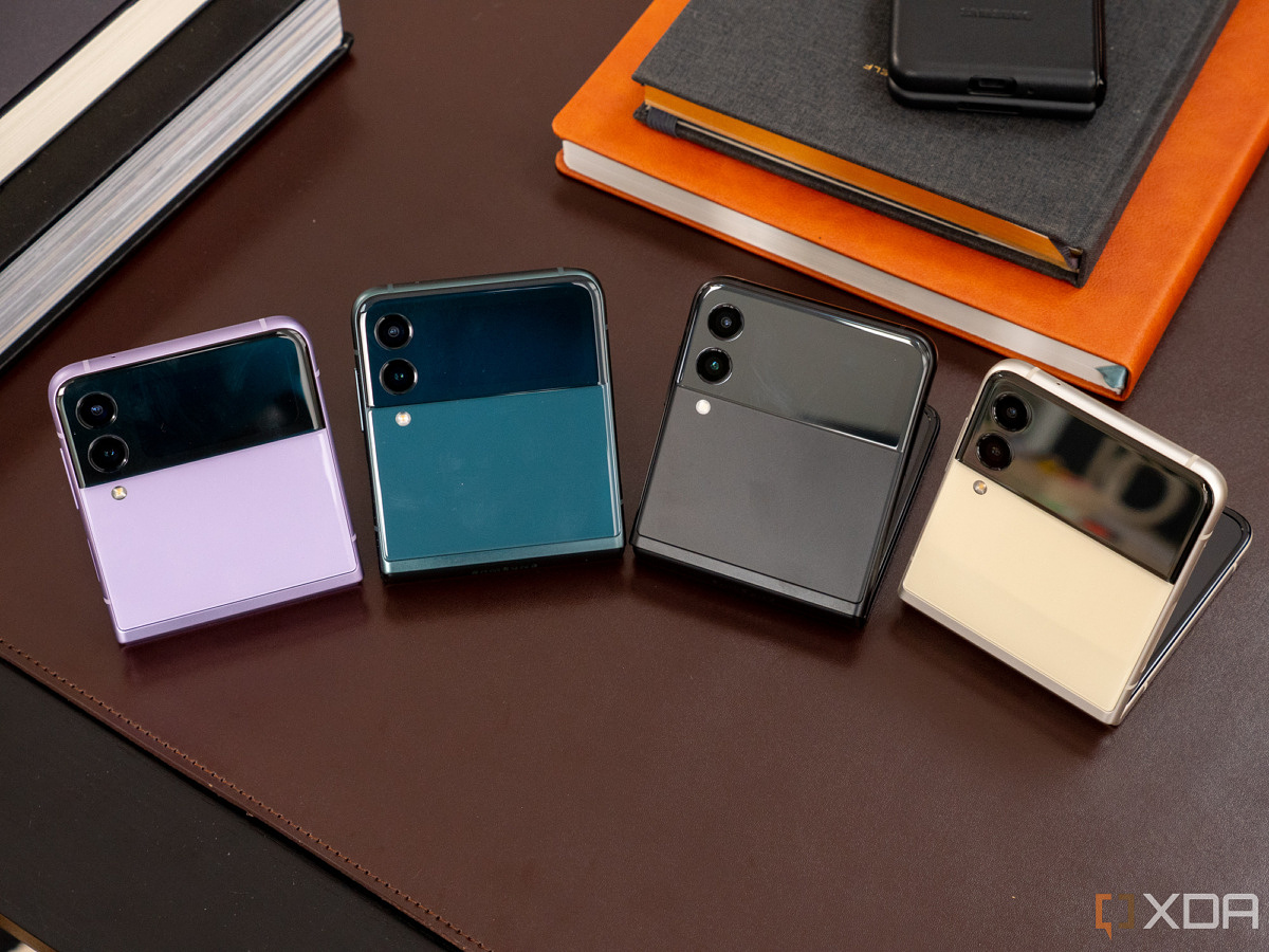 Samsung Galaxy Z Flip 3, partially folded, in all four colors