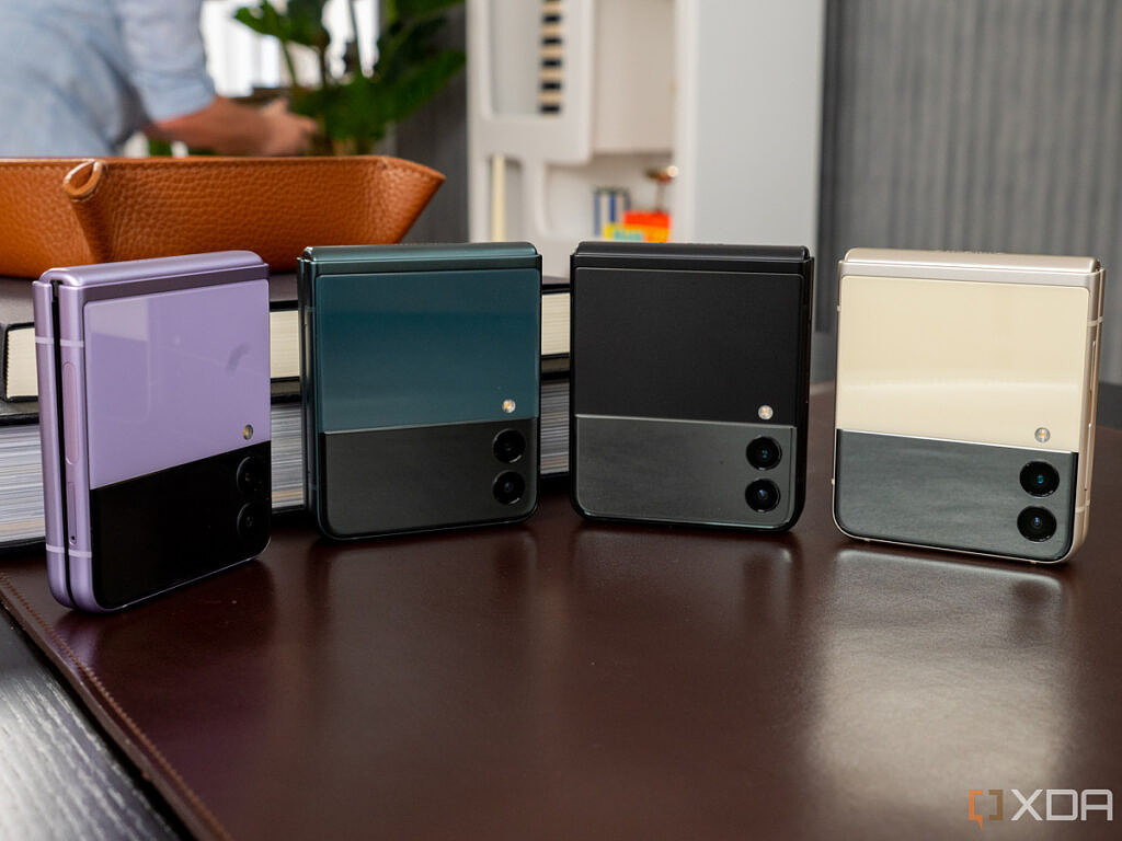 Samsung Galaxy Z Flip 3, folded, in all four colors