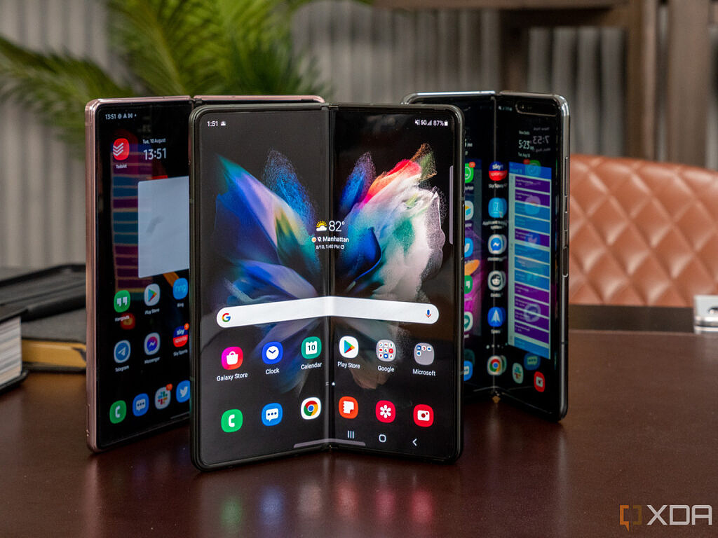 Front view of Samsung Galaxy Z Fold 3 with previous generations