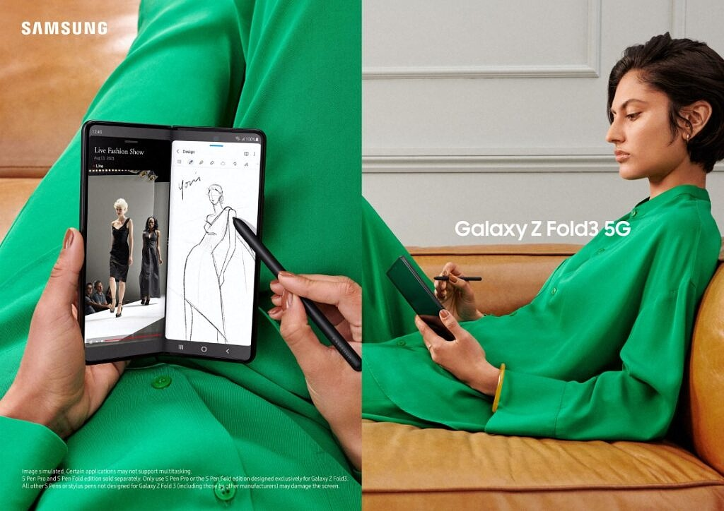 Samsung Galaxy Z Fold 3 being used for sketching and multitasking