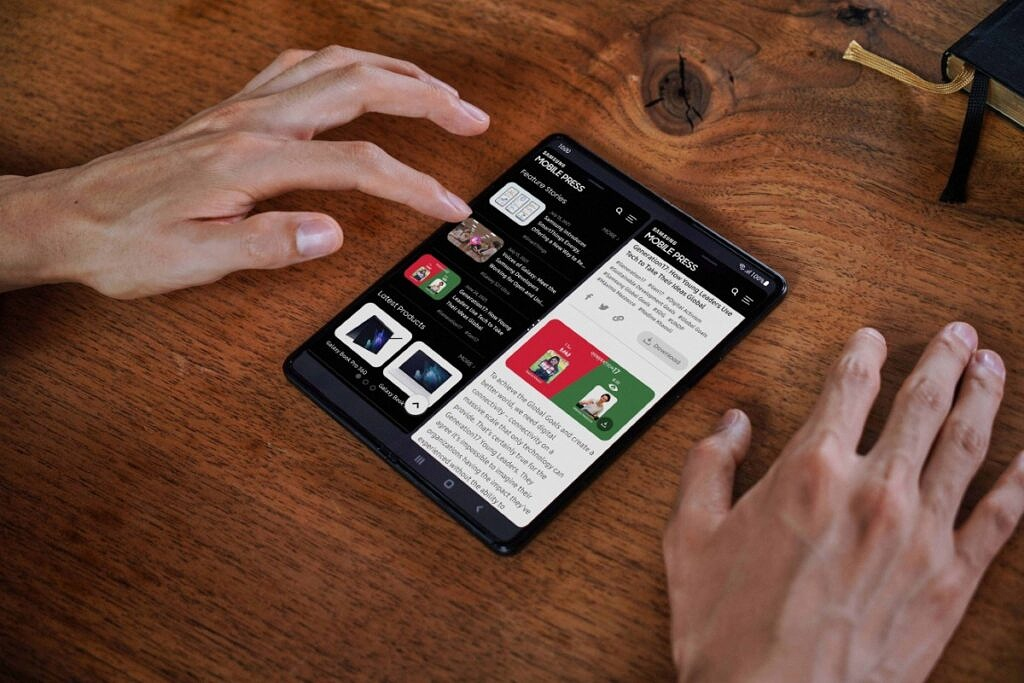 Samsung Galaxy Z Fold 3 used with two apps