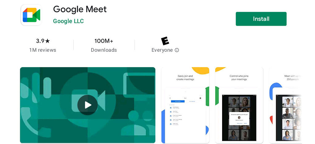 Google Meet on Chrome OS in play store