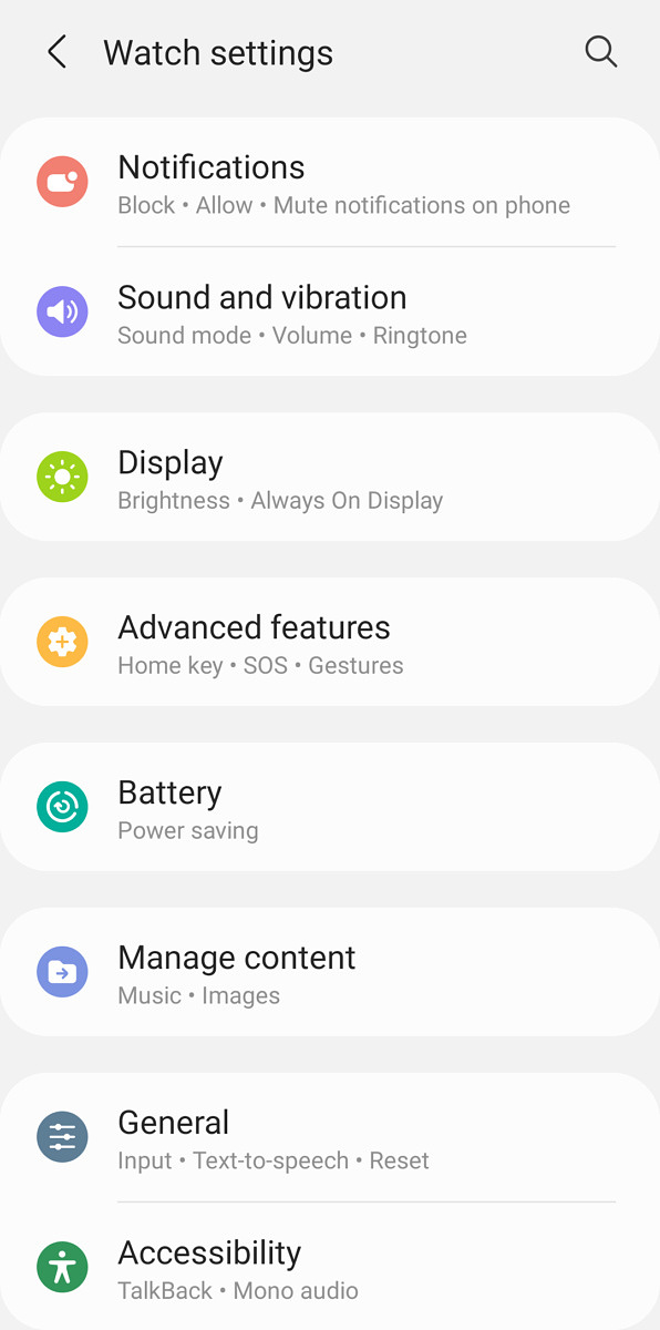 Submenus and settings of Galaxy Wearable app