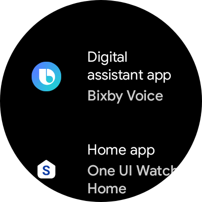 Settings app on the watch showing the 'Digital assistant app' default category