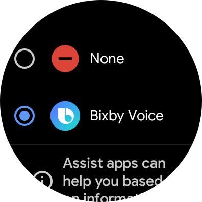 Digital assistant picker, with Bixby as the only option