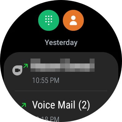 Phone app showing recent calls, a contacts button, and a dial pad button