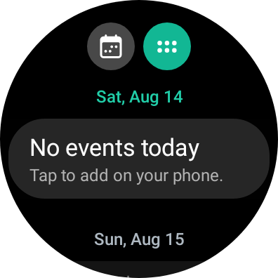 Calendar showing no events today