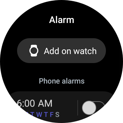 Alarm displaying alarms from the connected phone
