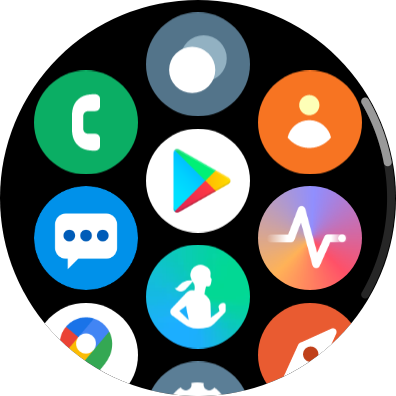 Grid of apps including Samsung Health, Google Pay, and phone