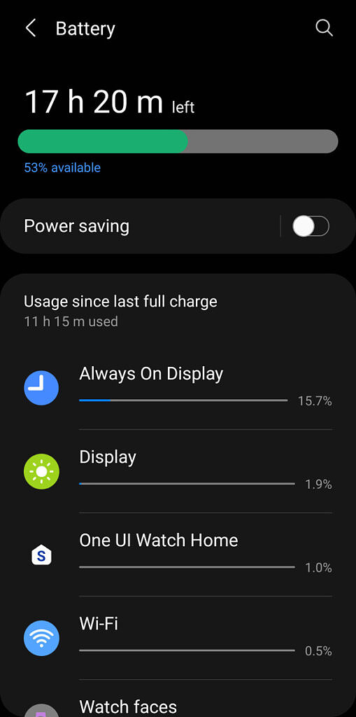 Screenshot of 53% battery remaining after 11 hours and 15 minutes off the charger