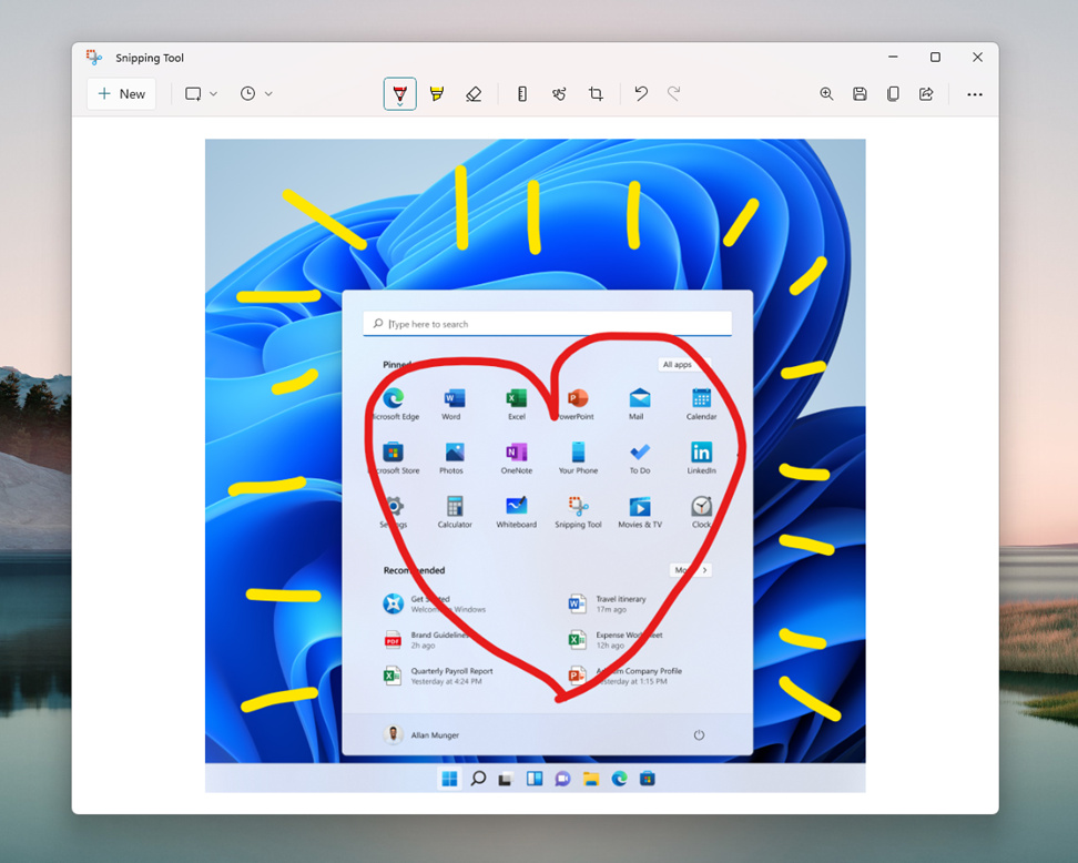 Annotations in Snipping Tool