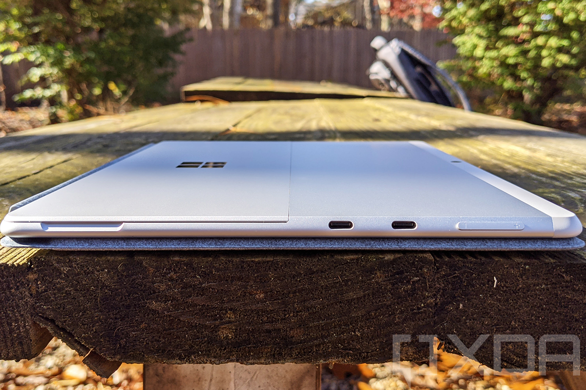 Side view of Surface Pro X in Platinum