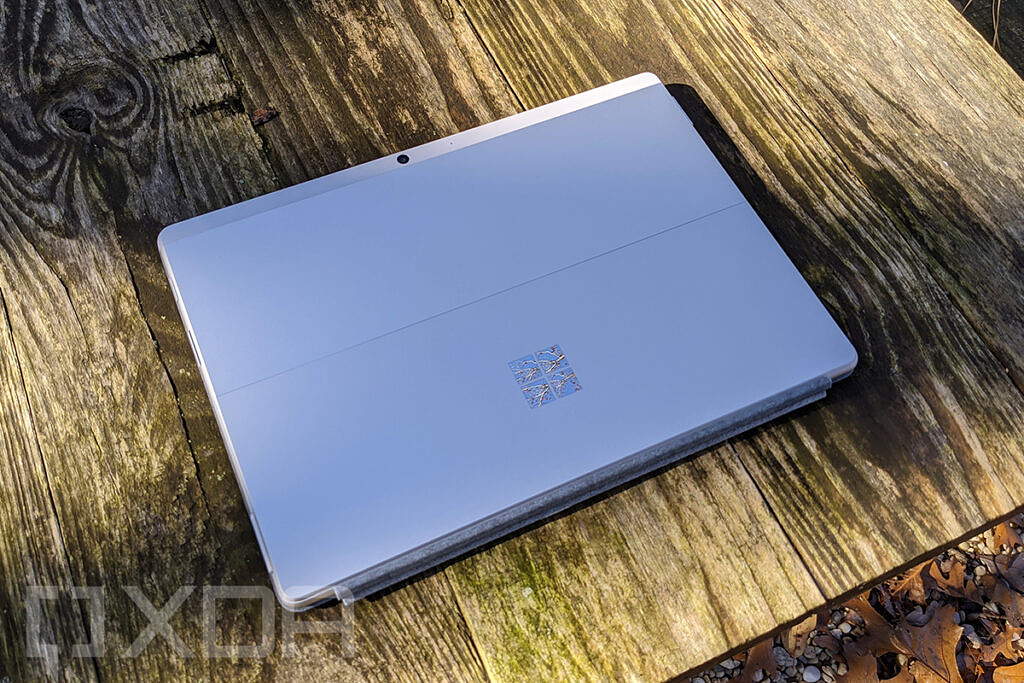 Angled view of Surface Pro X in Platinum
