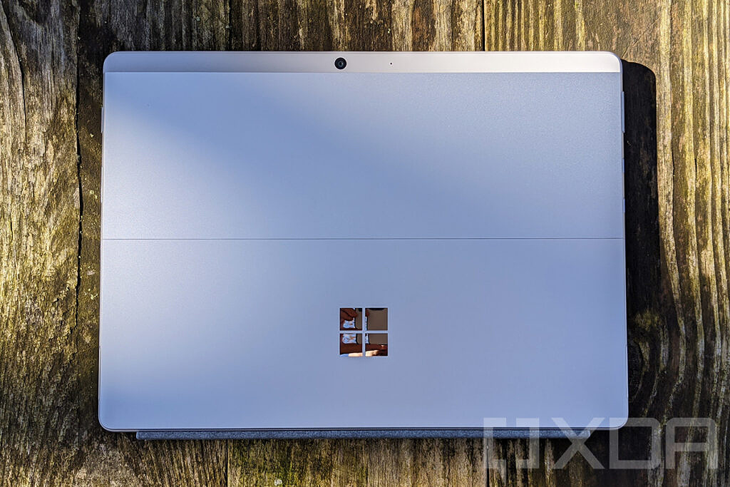 Top down view of Surface Pro X in Platinum