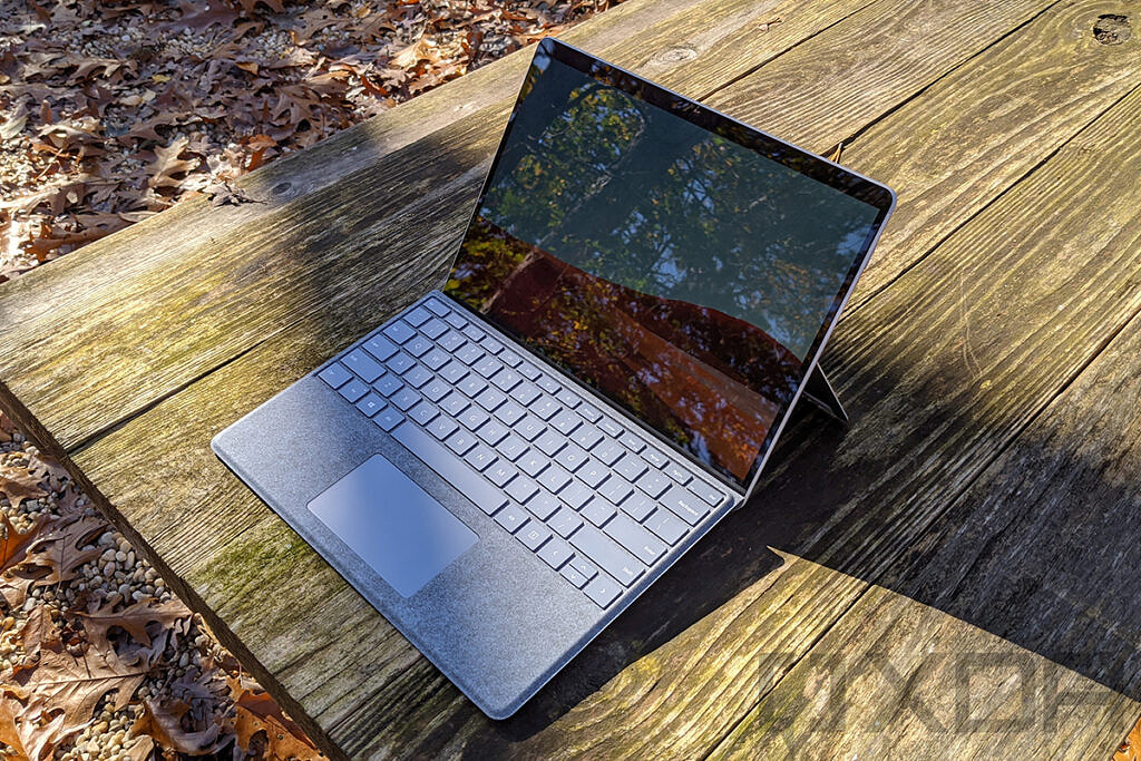 Top angled view of Surface Pro X in Platinum