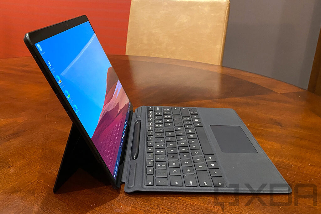 Side view of Surface Pro X in black