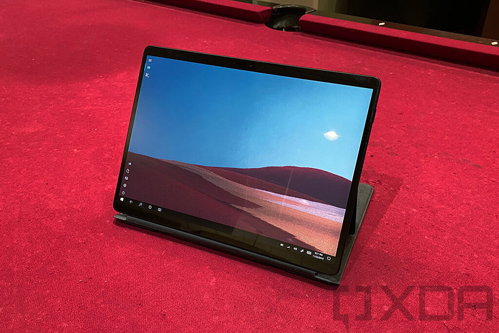 Surface Pro X in black with keyboard folded underneath