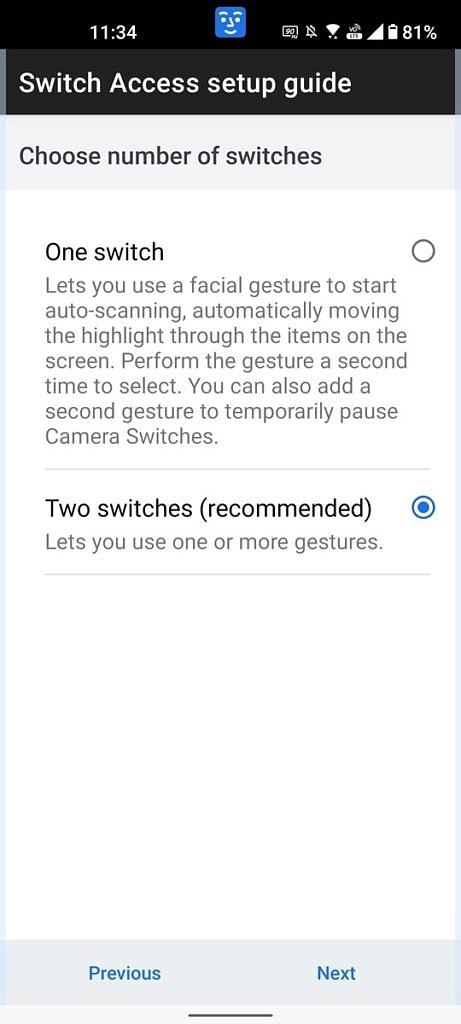 Choosing how many gestures to set up for Camera Switches