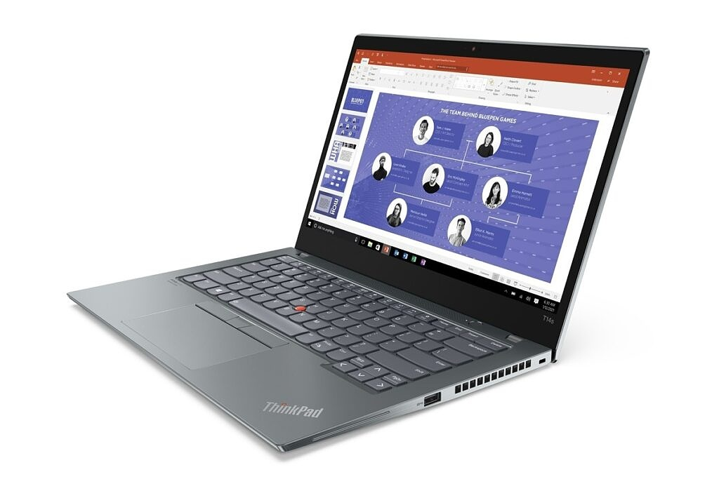 Lenovo ThinkPad T14s right angle view in Storm Grey