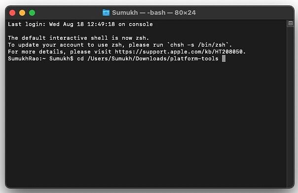 Terminal on mac with command