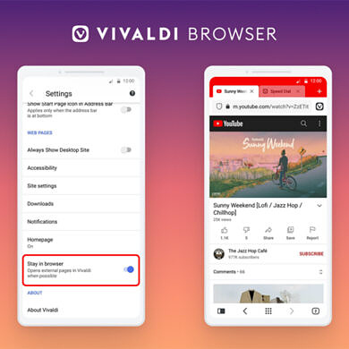 """Vivaldi update adds a """"stay in browser"""" option and lets you turn off tab groups"""