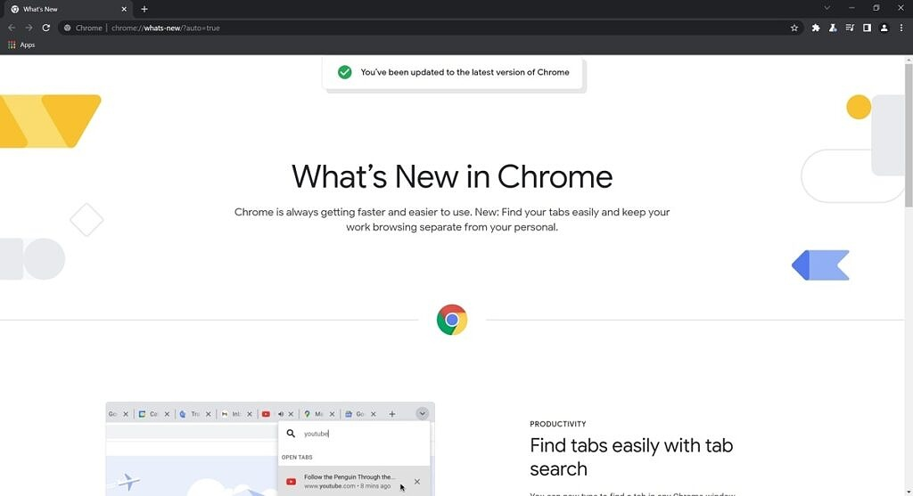 What's new in Chrome page