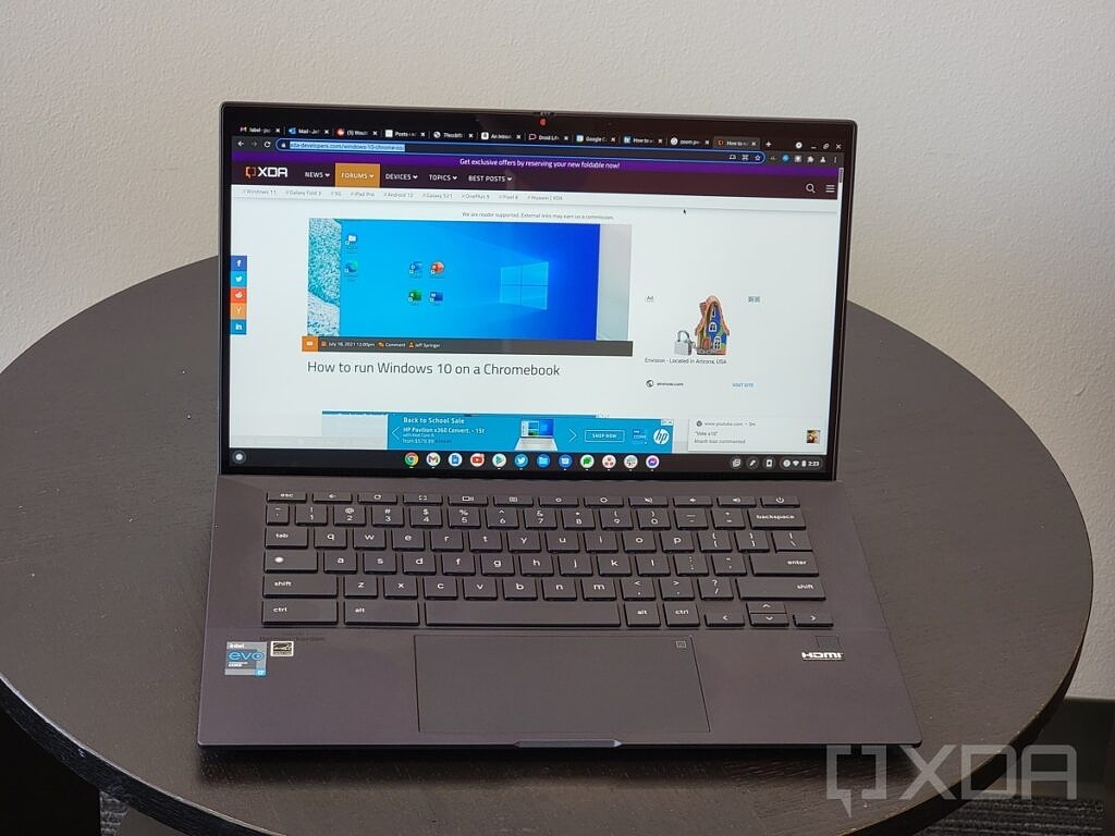 ASUS Chromebook CX9 open on table zoomed in