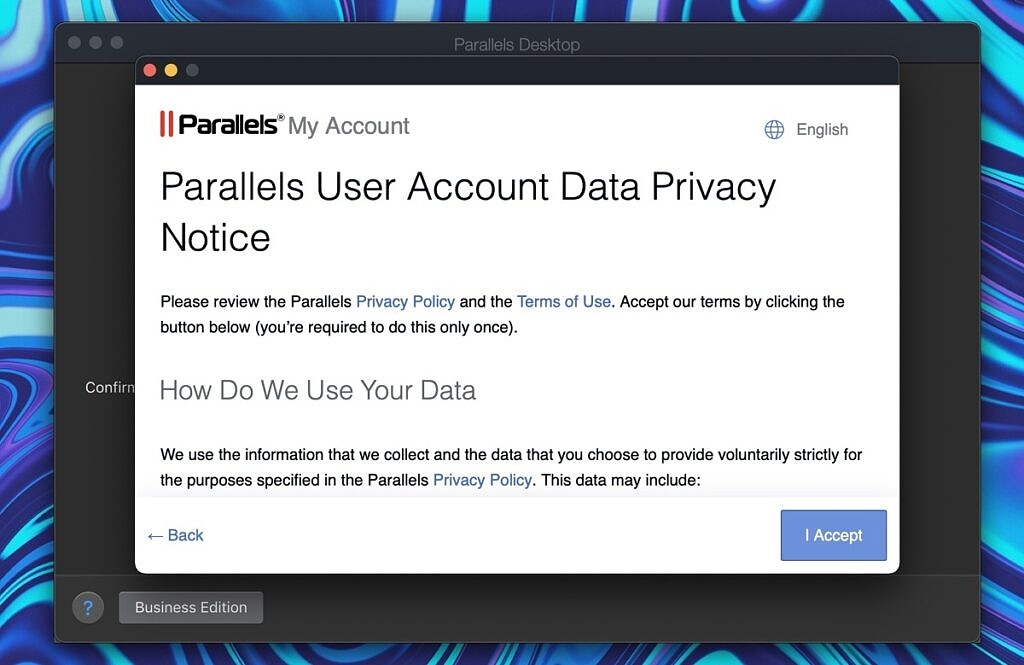 parallels 17 privacy warning