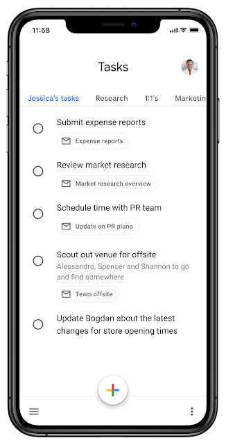 """Google Tasks screenshot showing a tab bar with """"Jessica's tasks,"""" """"Research,"""" and other lists as tabs"""