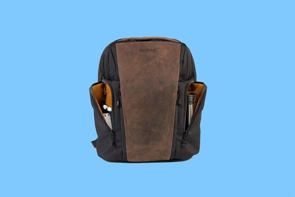 Waterfield Designs Executive Pro backpack on blue background