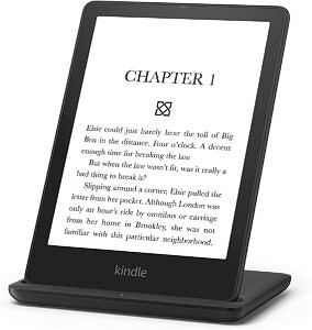 Kindle Paperwhite Signature Edition attached to a wireless charging dock