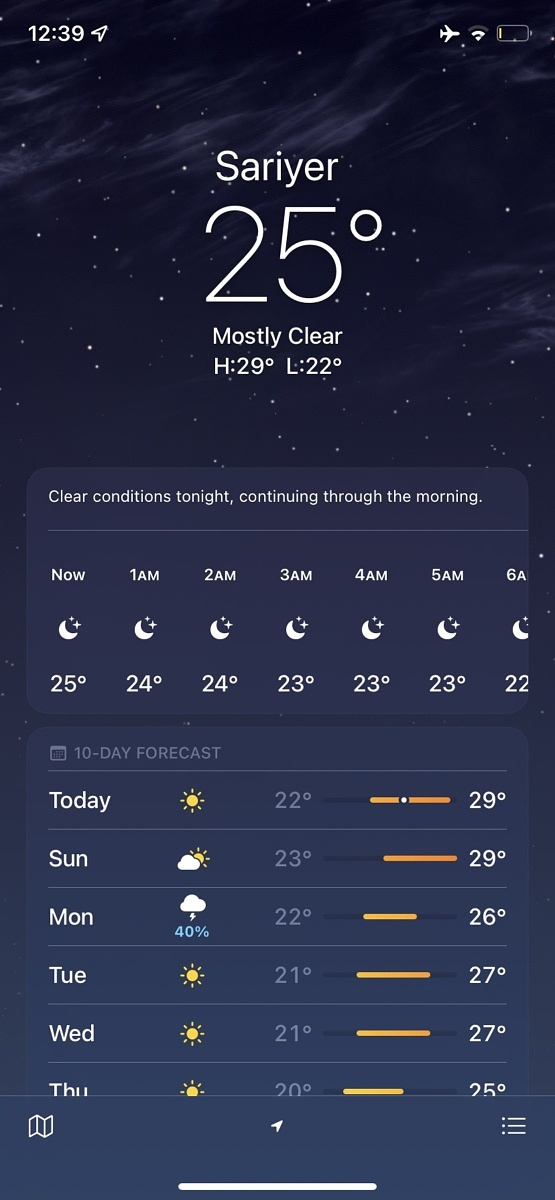 Screenshot showing the redesigned Weather app on iOS 15