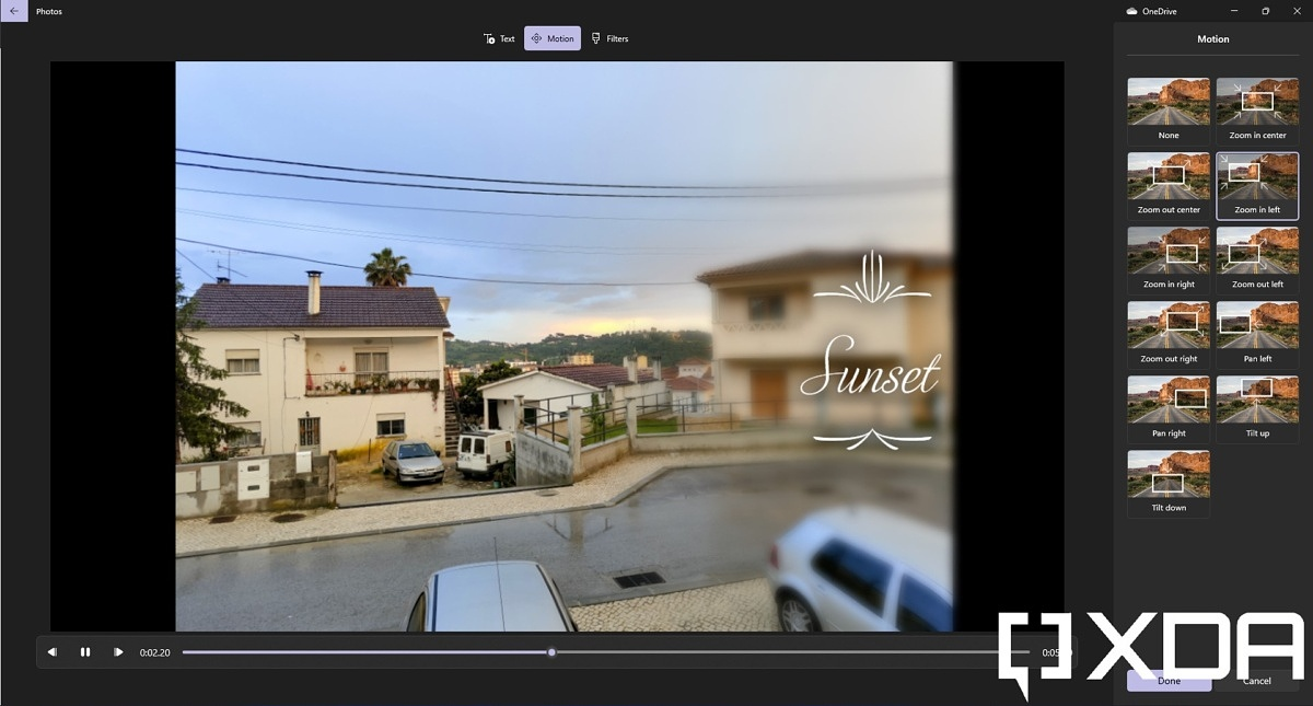 Adding text and motion effects to an image