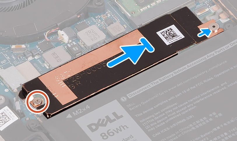 Aligning the SSD and thermal bracket inside the Dell XPS 15