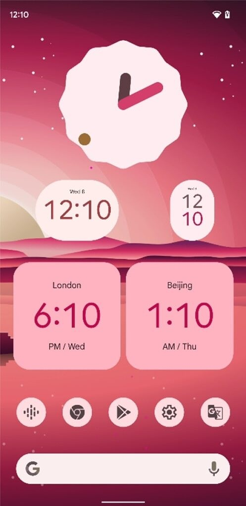 Light red Material You clock widgets in Android 12 Beta 5