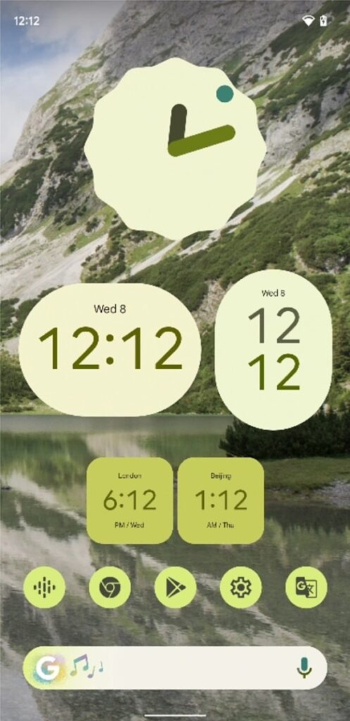 Light green Material You clock widgets in Android 12 Beta 5
