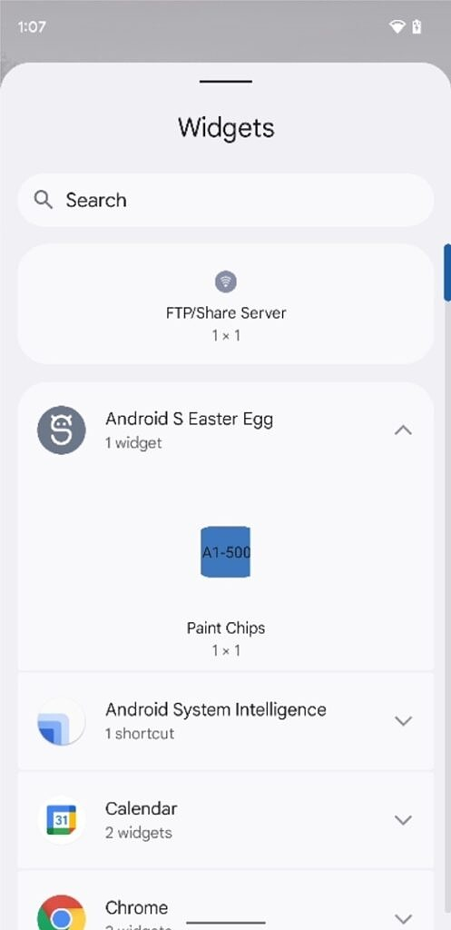 Android 12 Easter egg widget